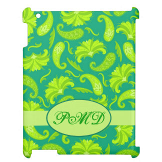 Lime Green Teal Art Deco Paisley Monogram Cover For The iPad 2 3 4