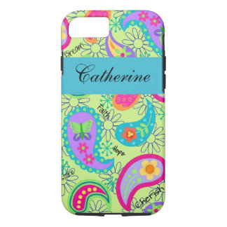 Lime Green Teal Modern Paisley Name Personalized iPhone 7 Case