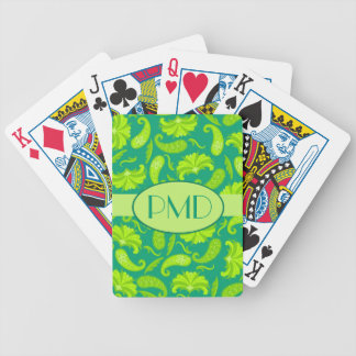 Lime Green & Teal Monogram Name Parisian Paisley Bicycle Playing Cards