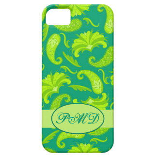 Lime Green & Teal Paisley Monogram iPhone 5 Case