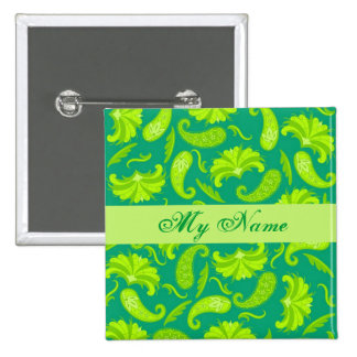 Lime Green & Teal Parisian Paisley Name Tag Badge Pinback Button