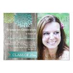 Lime Green Teal Petals Barn Wood Graduation Party 5x7 Paper Invitation Card