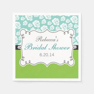 Lime Green & Teal, White Flowers, Bridal Shower Napkin
