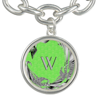Lime Green Texture Initial Charm Bracelet