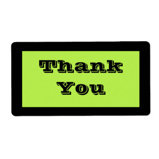 Lime Green Thank You Label