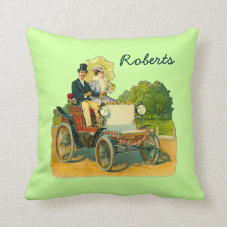 Lime Green Throw Pillow with Vintage Image & Name