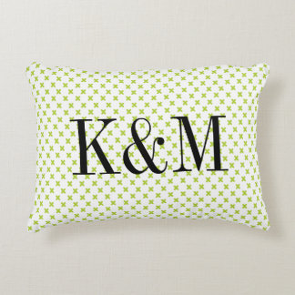 Lime Green Tiny X Monogram Accent Pillow
