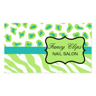 Lime Green Turquoise Blue Zebra Leopard Business Card