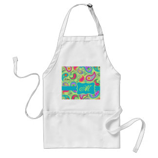 Lime Green Turquoise Modern Paisley Monogram Adult Apron