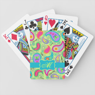 Lime Green Turquoise Modern Paisley Monogram Bicycle Playing Cards