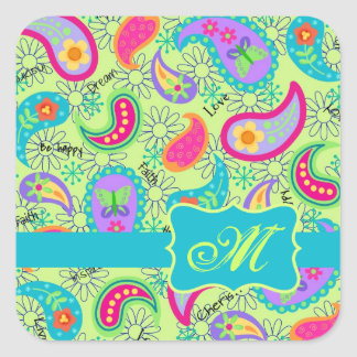 Lime Green Turquoise Modern Paisley Monogram Square Sticker