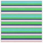 [ Thumbnail: Lime Green, Turquoise, Pink, Mint Cream & Blue Fabric ]