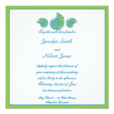 Beach Themed Lime Green Turquoise Seashell Wedding Invitation