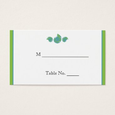 Beach Themed Lime Green Turquoise Seashell Wedding Place Cards