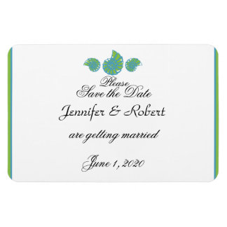 Lime Green Turquoise Shell Wedding Save the Date Rectangular Photo Magnet