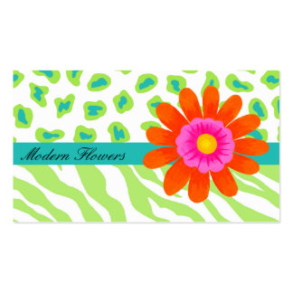 Lime Green, & Turquoise Teal Zebra & Cheetah Double-Sided Standard Business Cards (Pack Of 100)
