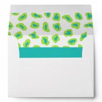 Lime Green & Turquoise Teal  Zebra & Cheetah Skin Envelope