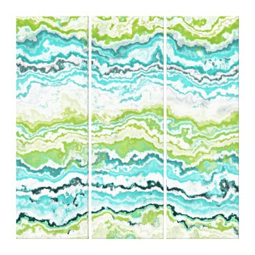 LolasArtAttic Lime Green Turquoise White Minerals Agate Pattern Canvas Print