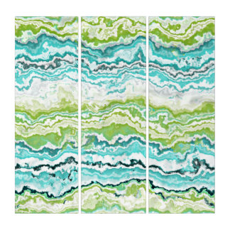 Lime Green Turquoise White Minerals Agate Pattern Triptych