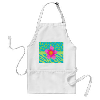 Lime Green & Turquoise Zebra & Cheetah Pink Flower Adult Apron