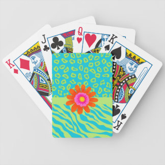 Lime Green & Turquoise Zebra & Cheetah Pink Flower Bicycle Playing Cards