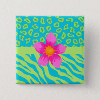 Lime Green & Turquoise Zebra & Cheetah Pink Flower Button