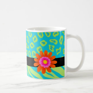 Lime Green & Turquoise Zebra & Cheetah Pink Flower Coffee Mug