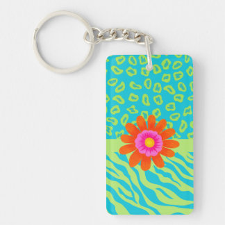 Lime Green & Turquoise Zebra & Cheetah Pink Flower Double-Sided Rectangular Acrylic Keychain