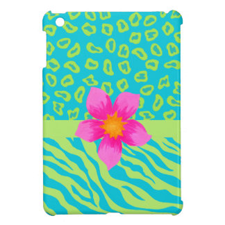 Lime Green & Turquoise Zebra & Cheetah Pink Flower Cover For The iPad Mini