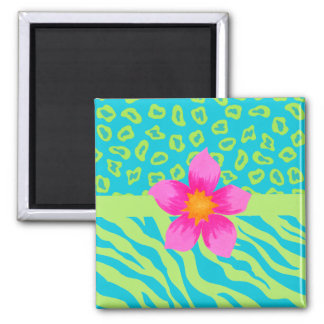Lime Green & Turquoise Zebra & Cheetah Pink Flower 2 Inch Square Magnet