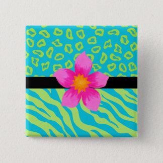 Lime Green & Turquoise Zebra & Cheetah Pink Flower Pinback Button
