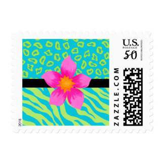 Lime Green & Turquoise Zebra & Cheetah Pink Flower Postage