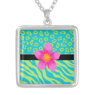Lime Green & Turquoise Zebra & Cheetah Pink Flower Silver Plated Necklace