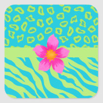 Lime Green & Turquoise Zebra & Cheetah Pink Flower Square Sticker