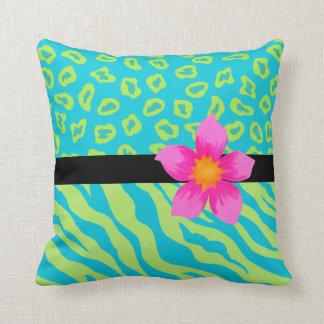 Lime Green & Turquoise Zebra & Cheetah Pink Flower Throw Pillow