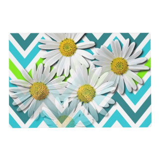 Lime Green Turquoise Zigzag Daisy Flowers Pattern Placemat