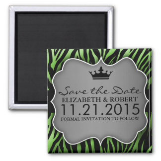 Lime Green Untamed Zebra Print Save the Date 2 Inch Square Magnet