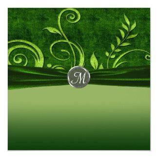 Lime & Green Velvet Wedding Swirl 5.25x5.25 Square Paper Invitation Card