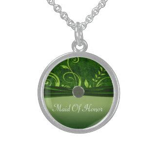 Lime & Green Velvet Wedding Swirl Sterling Silver Necklace