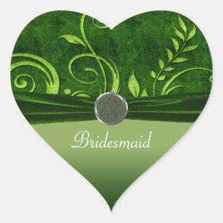 Lime & Green Velvet Wedding Swirl Heart Sticker