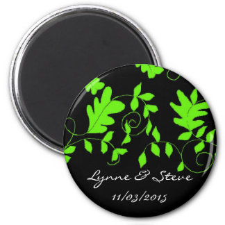 Lime Green Vines on Black Save the Date 2 Inch Round Magnet