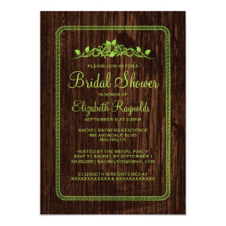 Lime Green Vintage Barn Wood Bridal Shower Invites