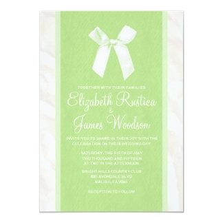 Lime Green Vintage Bow & Linen Wedding Invitations