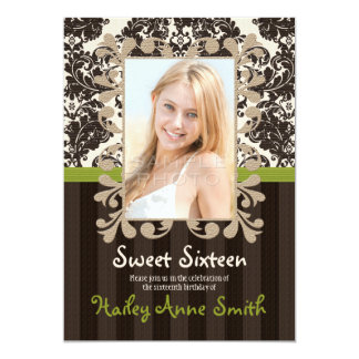 Lime Green Vintage Lace Damask Sweet Sixteen 5x7 Paper Invitation Card