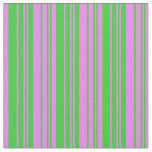 [ Thumbnail: Lime Green & Violet Colored Striped/Lined Pattern Fabric ]