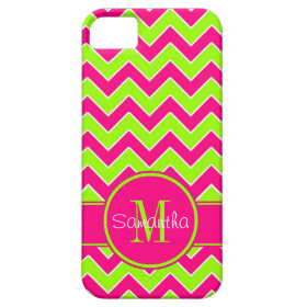 Lime Green w/ Pink Chevron Pattern Custom Monogram iPhone 5 Cases