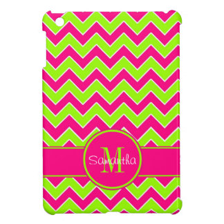 Lime Green w/ Pink Chevron Pattern Custom Monogram Case For The iPad Mini