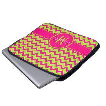 Lime Green w/ Pink Chevron Pattern Custom Monogram Computer Sleeve