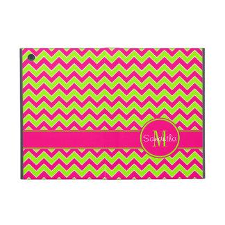 Lime Green w/ Pink Chevron Pattern Custom Monogram Cover For iPad Mini