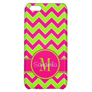 Lime Green w/ Pink Chevron Pattern Custom Monogram Cover For iPhone 5C